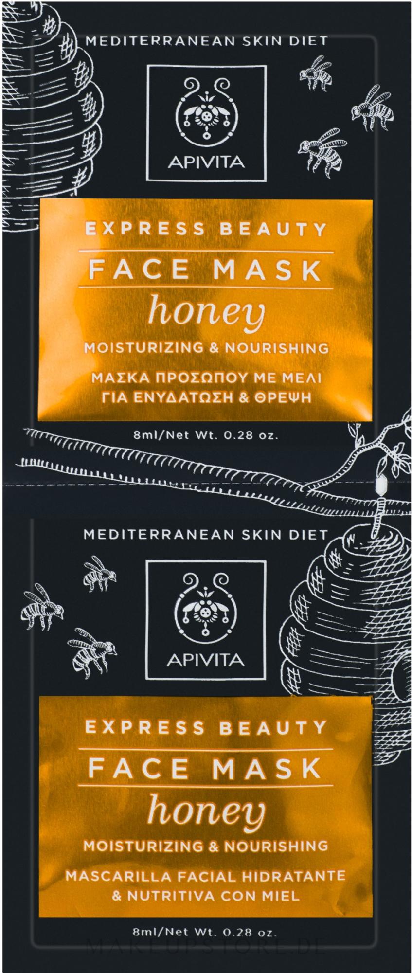 Feuchtigkeitsspendende und pflegende Gesichtsmaske mit Honig - Apivita Moisturizing and Nourishing Mask — Bild 2x8 ml