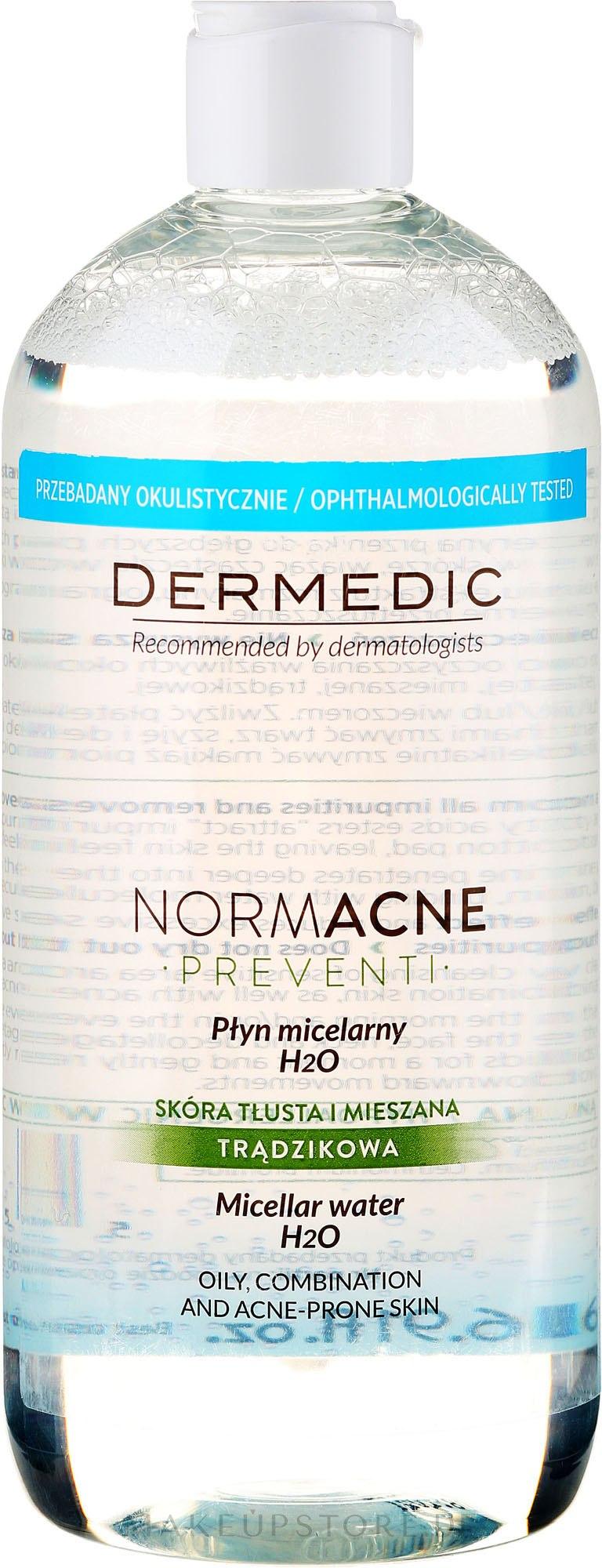 Mizellen-Reinigungswasser für fettige und Mischhaut - Dermedic NormAcne Preventi H2O Micellaire Water — Bild 500 ml