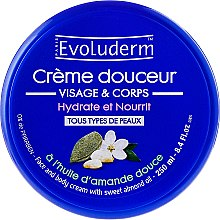 Düfte, Parfümerie und Kosmetik Feuchtigkeitsspendende und pflegende Körper- und Gesichtscreme mit Mandelöl - Evoluderm Almond Face and Body Cream