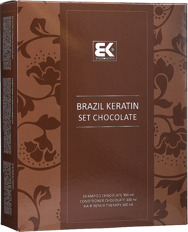 Haarpflegeset - Brazil Keratin Intensive Repair Chocolate (Shampoo 300ml + Conditioner 300ml + Haarserum 100ml)