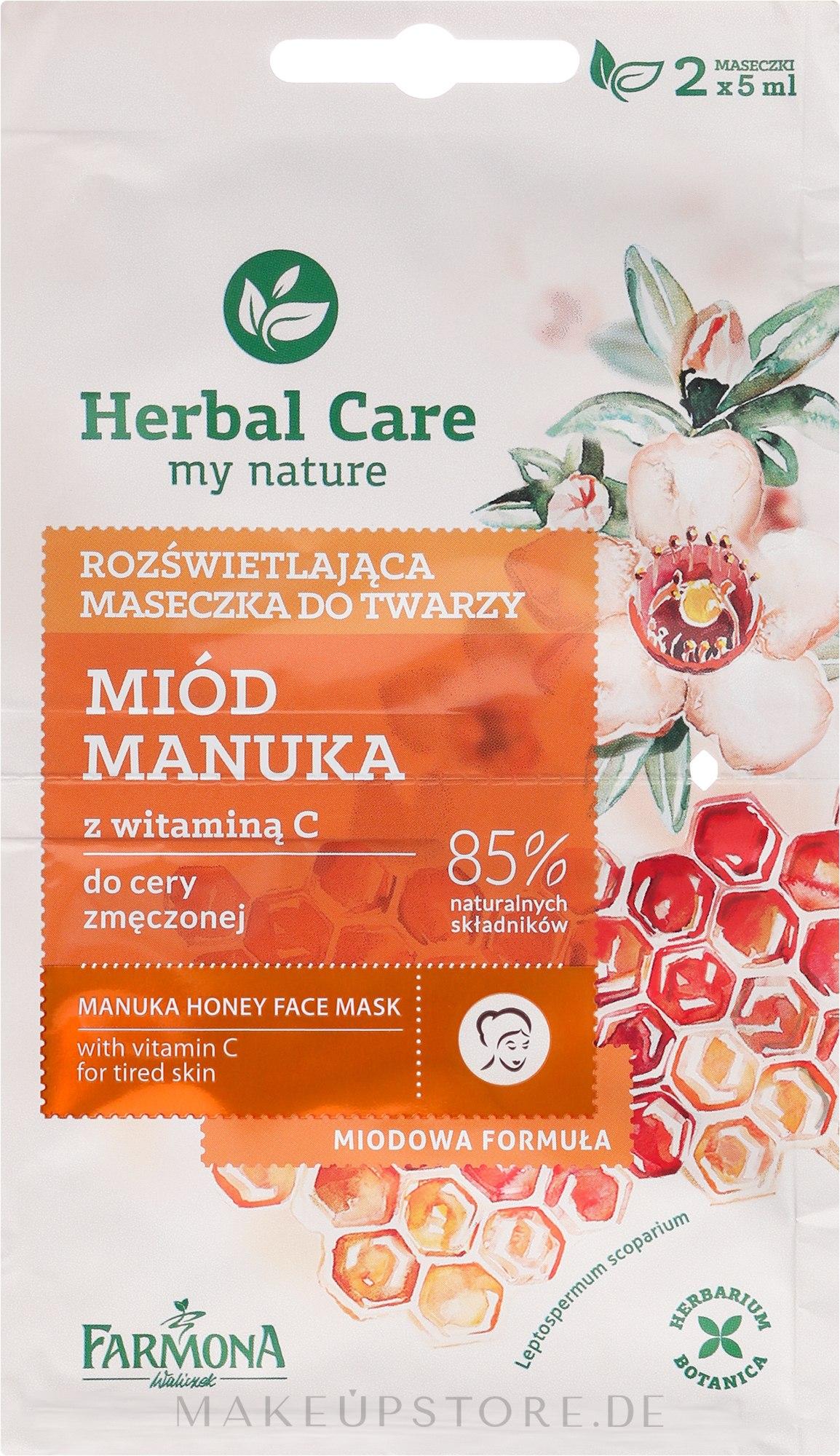 Gesichtsmaske mit Honig und Vitamin C - Farmona Herbal Care Manuka Honey Face Mask — Bild 2x5 ml
