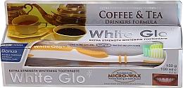 Düfte, Parfümerie und Kosmetik Zahnpflegeset - White Glo Coffee & Tea Drinkers Formula Whitening Toothpaste (Zahnpaste 100ml + Zahnbürste gelb)