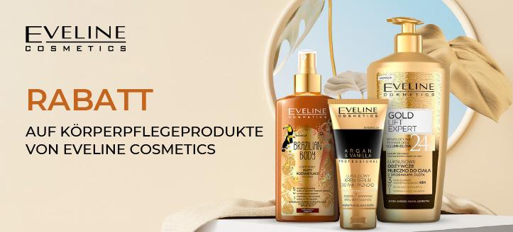 Rabatt auf Körperpflegeprodukte von Eveline Cosmetics. Die Preise auf der Website sind inklusive Rabatt