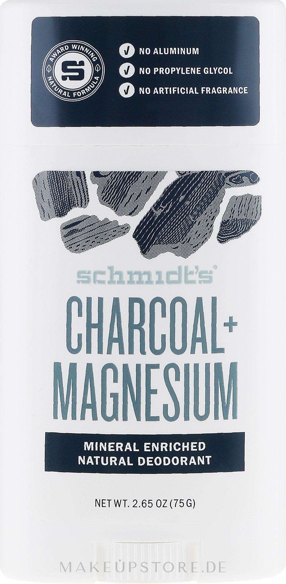 Natürlicher Deostick - Schmidt's Deodorant Stick Charcoal & Magnesium  — Bild 75 g