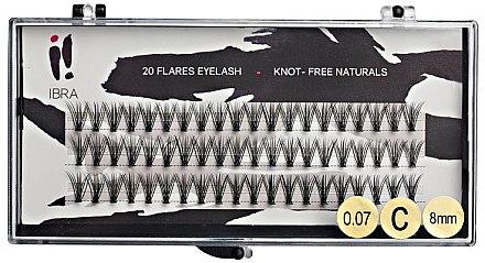 Wimpernbüschel-Set C 8 mm - Ibra 20 Flares Eyelash Knot Free Naturals — Bild N1