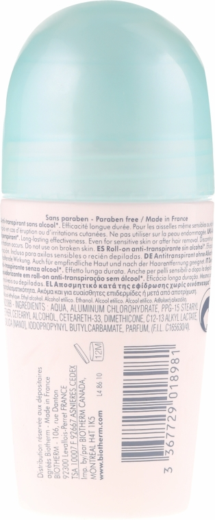 Deo Roll-on Antitranspirant mit Mineralkomplex - Biotherm Deo Pure Antiperspirant Roll-On — Bild N2
