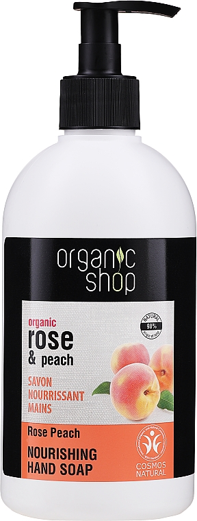 Pflegende Flüssigseife Pfirsich und Rose - Organic Shop Organic Peach and Rose Hand Soap — Bild N1
