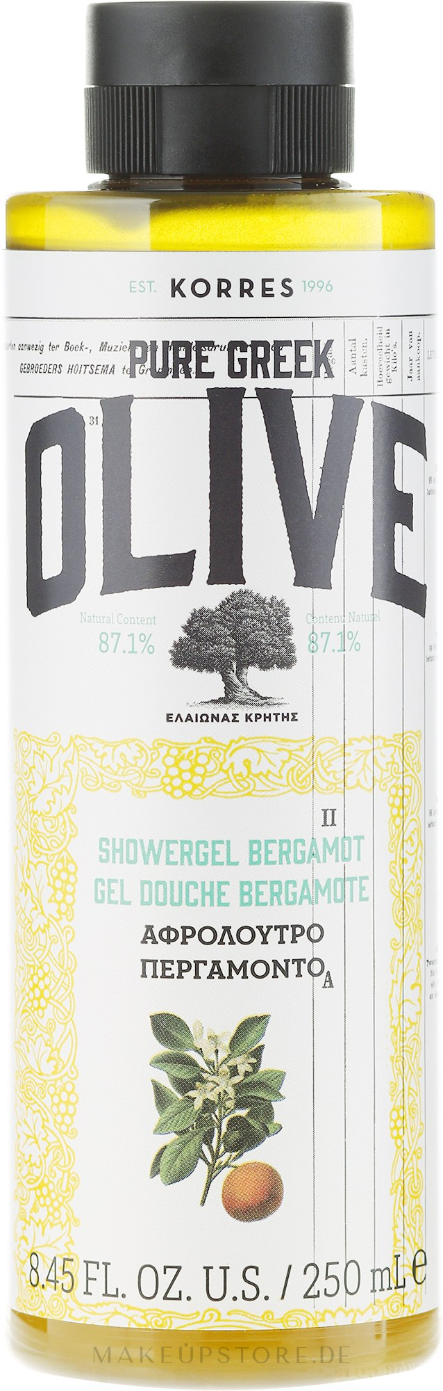 "Duschgel ""Bergamotte"" - Korres Pure Greek Olive Bergamot Shower Gel — Bild 250 ml"