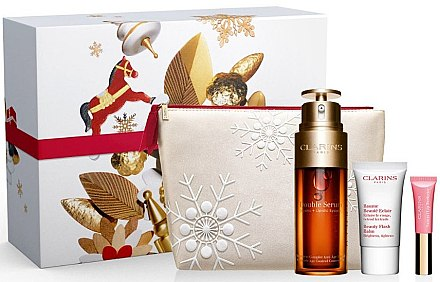 Gesichtspflegeset - Clarins Double Serum Collection (Sesichtsserum 50ml + Gesichtsbalsam 15ml + Lipgloss 5ml + Kosmetiktasche) — Bild N1