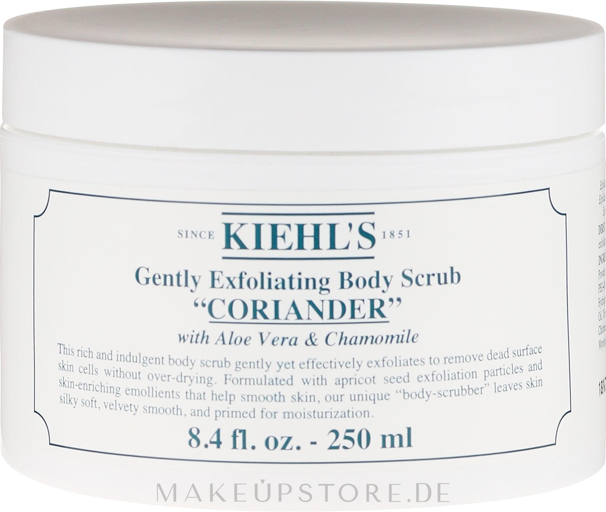 Sanftes Körperpeeling mit Koriander, Aloe Vera und Kamille - Kiehl's Coriander Body Scrub — Bild 250 ml