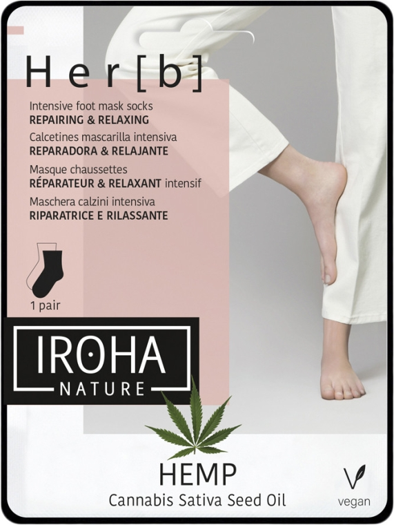 Fußmaske in Socken mit Hanföl - Iroha Nature HEMP Cannabis Foot Mask — Bild N1