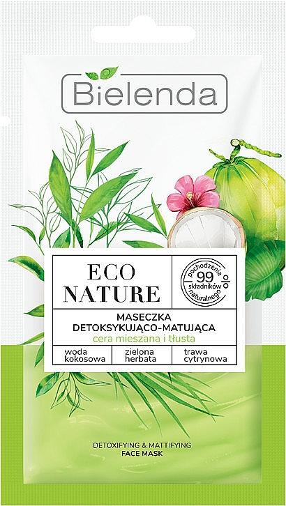 Gesichtsmaske mit Kokosnuss und Zitronengras - Bielenda Eco Nature Coconut Water Green Tea & Lemongrass Detox & Mattifyng Face Mask — Bild N1