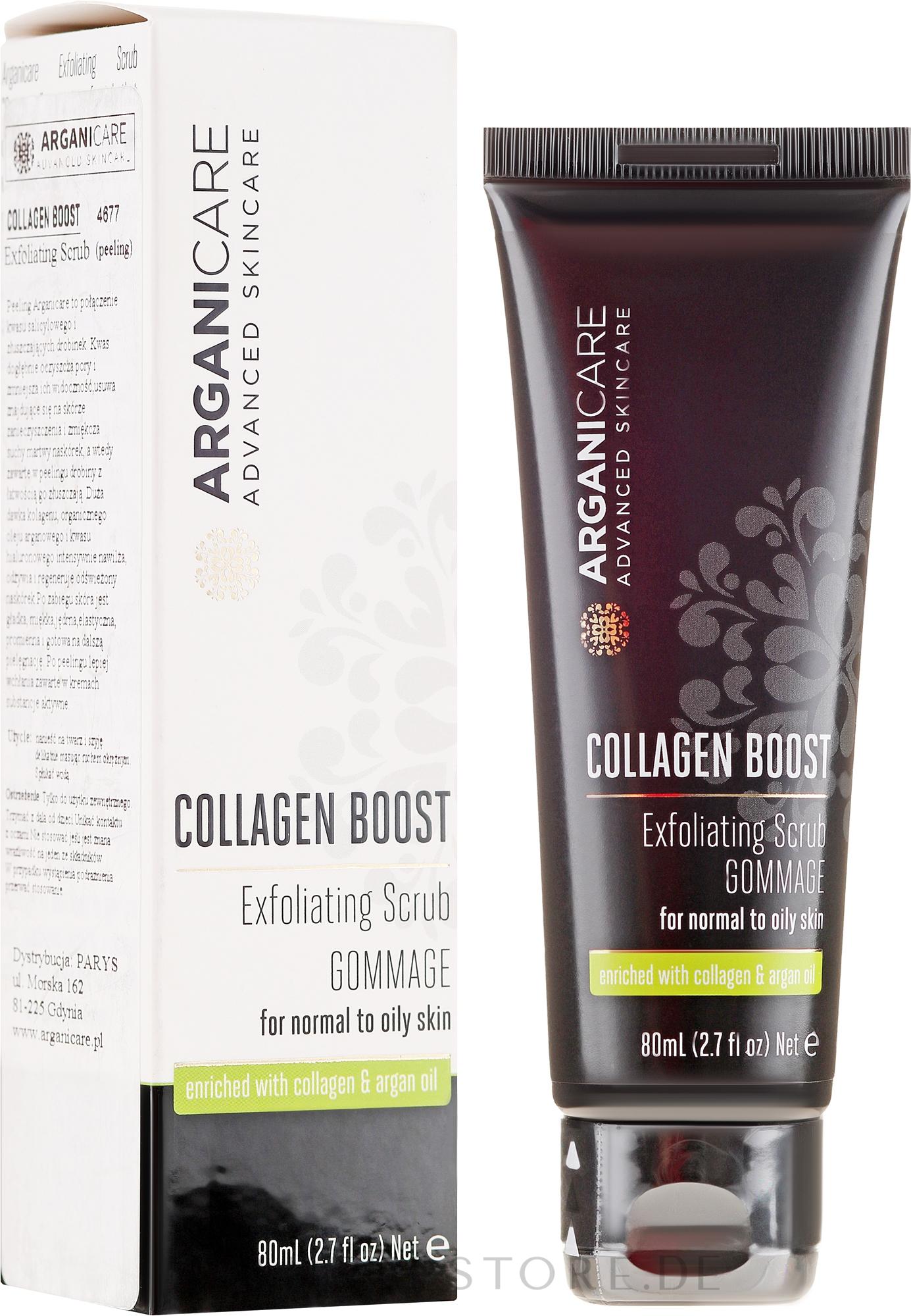 Gesichtspeeling mit Kollagen und Arganöl - Arganicare Collagen Boost Exfoliating Scrub — Bild 80 ml