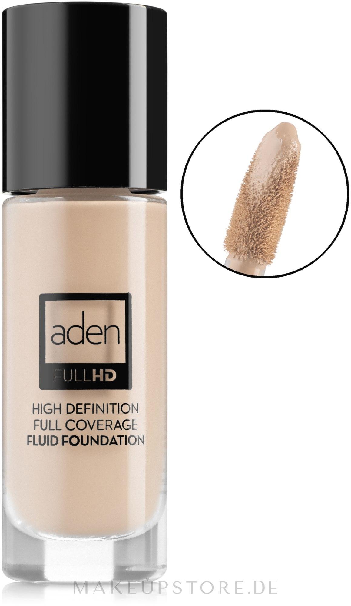 Deckende Fluid Foundation - Aden Cosmetics High Definition Fluid Foundation — Bild 02 - Ivory