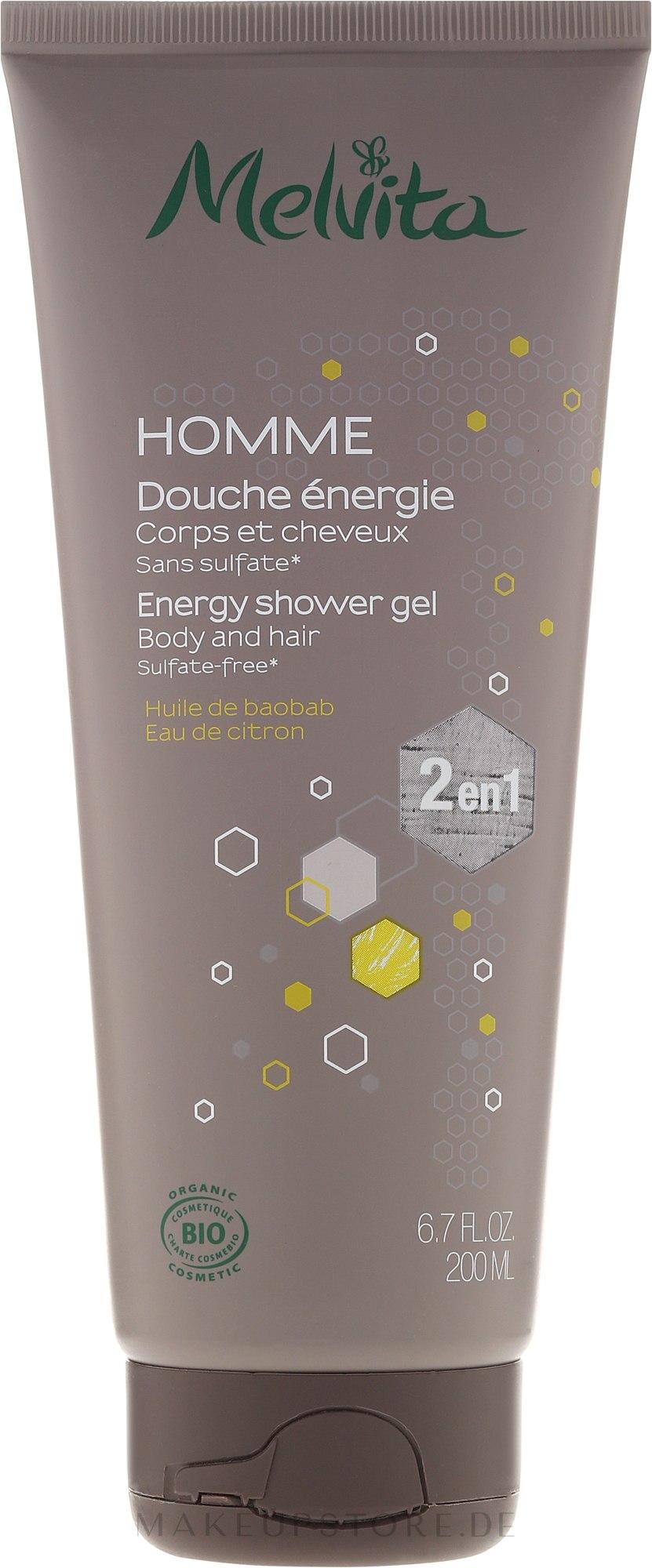 Shampoo & Duschgel 2in1für Männer - Melvita Homme Energy Shower Gel — Bild 200 ml