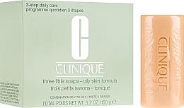 Düfte, Parfümerie und Kosmetik Gesichtsseife für fettige Haut 3 St. - Clinique Three Little Soaps with Travel Dish Oily Skin Formula