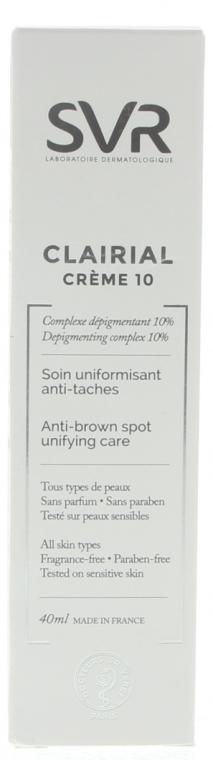 Aufhellendes Gesichtsfluid gegen Pigmentflecken für alle Hauttypen - SVR Clairial 10 Cream Anti-Brown Spot Unifying Care — Bild N2