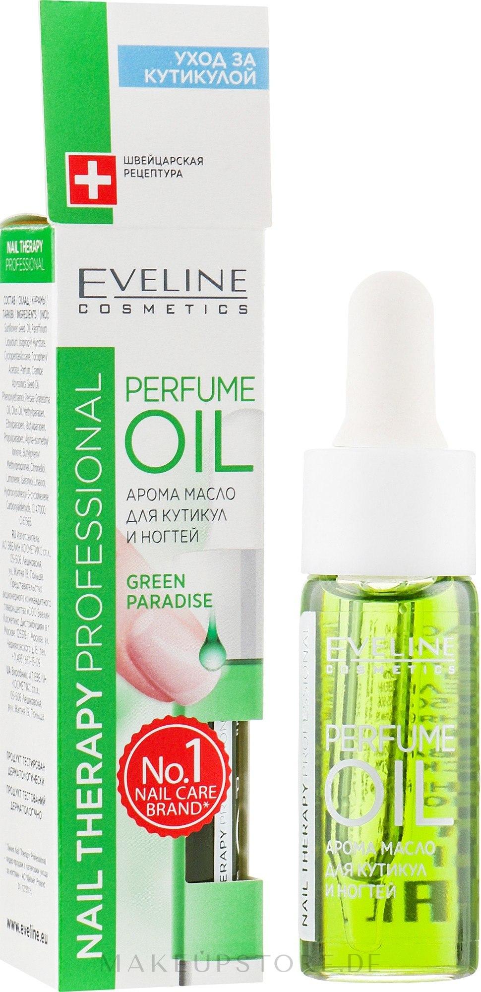 Parfümöl für Nagelhaut und Nägel - Eveline Cosmetics Nail Therapy Professional Green Paradise — Bild 12 ml