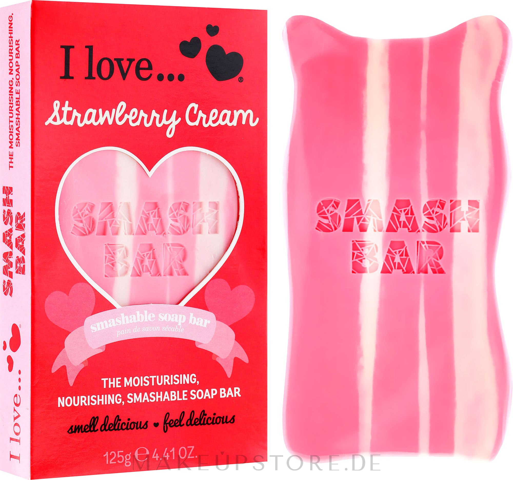 Parfümierte Körperseife - I Love... Strawberry Cream Smash Soap Bar Bath and Body Treats — Bild 125 g