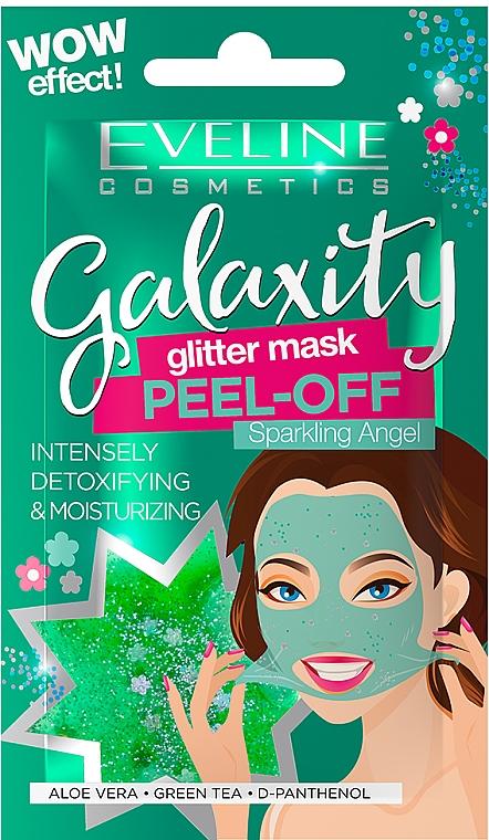 Feuchtigkeitsspendende Peel-Off-Maske für das Gesicht mit grünem Tee, Aloe Vera und D-Panthenol - Eveline Cosmetics Galaxity Glitter Mask Peel-off — Bild N1