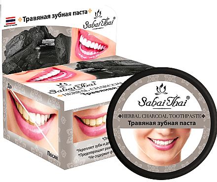 Fluoridfreie natürliche und aufhellende Zahnpasta mit Aktivkohle - Sabai Thai Herbal Charcoal Toothpaste — Bild N1