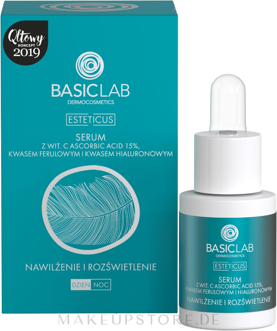 Aufhellendes Gesichtsserum mit Ascorbinsäure 15% - BasicLab Dermocosmetics Esteticus — Bild 15 ml