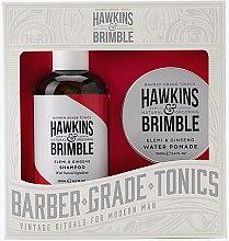 Düfte, Parfümerie und Kosmetik Haarpflege Geschenkset - Hawkins & Brimble Gift Set (Shampoo mit Ingwer 250ml + Haarpomade auf Wasserbasis 100ml)