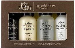 Düfte, Parfümerie und Kosmetik Set - John Masters Organics Essential Trial Set (sh/30ml + cond/30ml + sh/gel/30ml + b/milk/30ml)