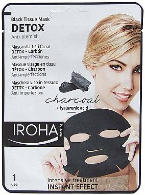 Anti-Makel Tuchmaske für das Gesicht mit Aktivkohle - Iroha Nature Detox Black Tissue Mask Charcoal — Bild N1
