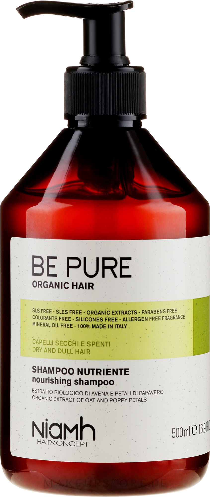 Aufbauendes Shampoo für schwaches Haar mit Haferextrakt - Niamh Hairconcept Be Pure Nourishing Shampoo — Bild 500 ml