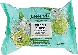 Düfte, Parfümerie und Kosmetik Mizellen-Feuchttücher zum Abschminken mit bioaktivem Zitronenwasser - Bielenda Fresh Juice Micelar Make-up Removing Wipes