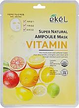Düfte, Parfümerie und Kosmetik Tuchmaske für das Gesicht mit Vitaminen - Ekel Super Natural Ampoule Mask Vitamin
