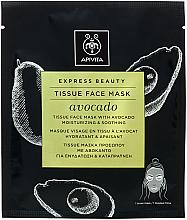 Düfte, Parfümerie und Kosmetik Feuchtigkeitsspendene und beruhigende Tuchmaske mit Avocadoöl - Apivita Express Beauty Tissue Face Mask Avocado