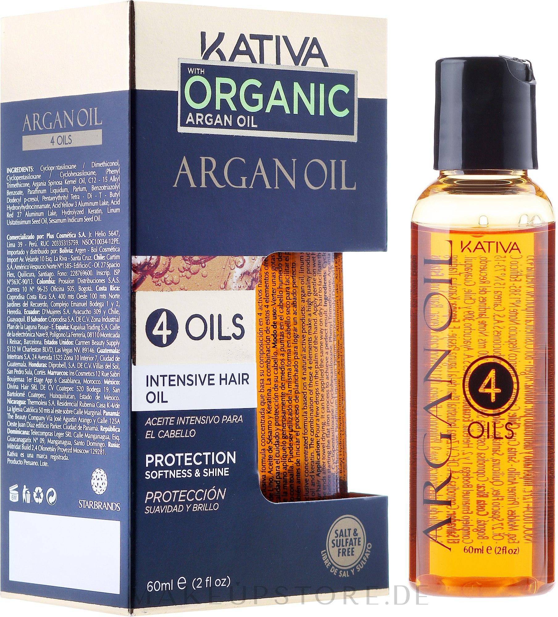 Regenerierendes Haarkonzentrat mit 4 Ölen - Kativa Argan Oil — Bild 60 ml