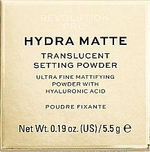 Transparenter und mattierender Fixierpuder mit Hyaluronsäure - Makeup Revolution Pro Hydra Matte Translucent Setting Powder — Bild N1