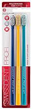 Düfte, Parfümerie und Kosmetik Zahnbürste weich Profi Whitening dunkelblau, gelb, türkis 3 St. - Swissdent Profi Gentle Extra Soft Trio-Pack