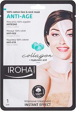 Anti-Aging Tuchmaske für Gesicht und Hals mit Hyaluronsäure und Kollagen - Iroha Nature Anti-Age Collagen 100% Cotton Face & Neck Mask — Bild N1