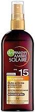 Düfte, Parfümerie und Kosmetik Sonnenschutzöl-Spray mit Sheabutter SPF 15 - Garnier Ambre Solaire