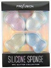 Düfte, Parfümerie und Kosmetik Make-up Schwamm-Set aus Silikon 4 St. - Profusion Cosmetics Glitter Silicone Sponge