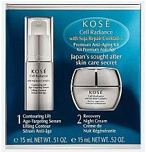 Düfte, Parfümerie und Kosmetik Gesichtspflegeset - KOSE Soja Repair Cocktail Cell Radiance Premium Anti-Aging Kit (Gesichtsserum 15ml+Nachtcreme 15ml)