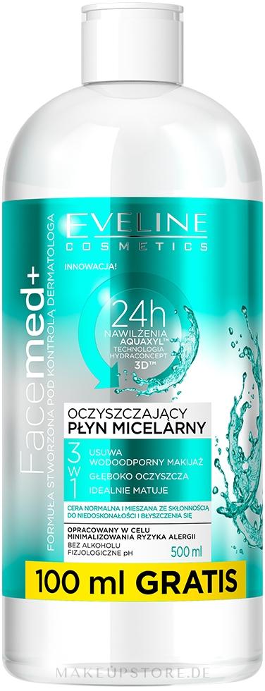 Mizellen-Reinigingswasser für normale und gemischte Haut - Eveline Cosmetics Facemed+ Micellar Water — Bild 500 ml