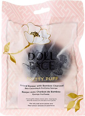 Gesichtsreinigungsschwamm - Doll Face Pretty Puff Natural Konjac With Bamboo Charcoal Skin Cleansing & Exfoliating Sponge — Bild N1