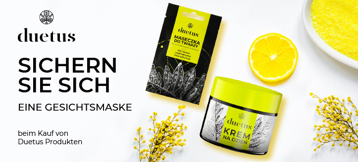 Bei Bestellung von Duetus Produkten bekommen Sie eine Gesichtsmaske geschenkt