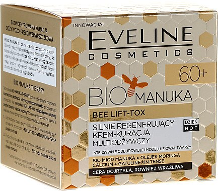 Stark regenerierende und pflegende Gesichtscreme mit Moringa-Öl, Manuka und Kalzium - Eveline Cosmetics Bio Manuka Bee Lift-tox 60+ — Bild N1