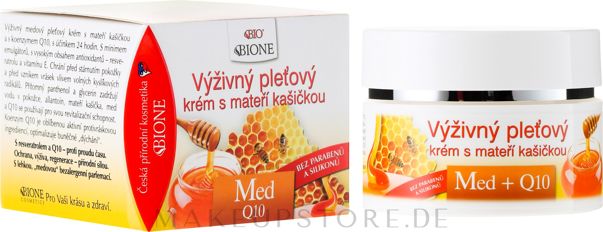 Nährende Gesichtscreme mit Honig und Q10 - Bione Cosmetics Honey + Q10 Cream — Bild 51 ml