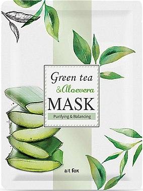 Ausgleichende und reinigende Gesichtsmaske mit grünem Tee und Aloe Vera - A:t fox Green Tea & Aloevera Mask — Bild N1