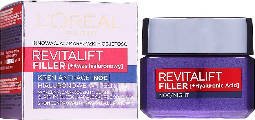 Anti-Aging Nachtcreme mit Faltenauffüll-Effekt - L'Oreal Paris Revitalift Filler Hyaluronic Acid Night Cream