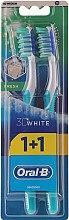 Düfte, Parfümerie und Kosmetik Zahnbürste mittel 3D White Fresh türkis 2 St. - Oral-B 3D White Fresh 40 Medium 1+1