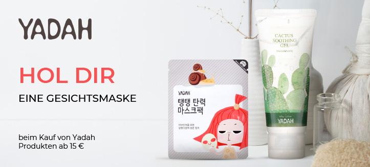 Beim Kauf von Yadah Produkten ab 15 € erhältst Du eine Gesichtsmaske geschenkt