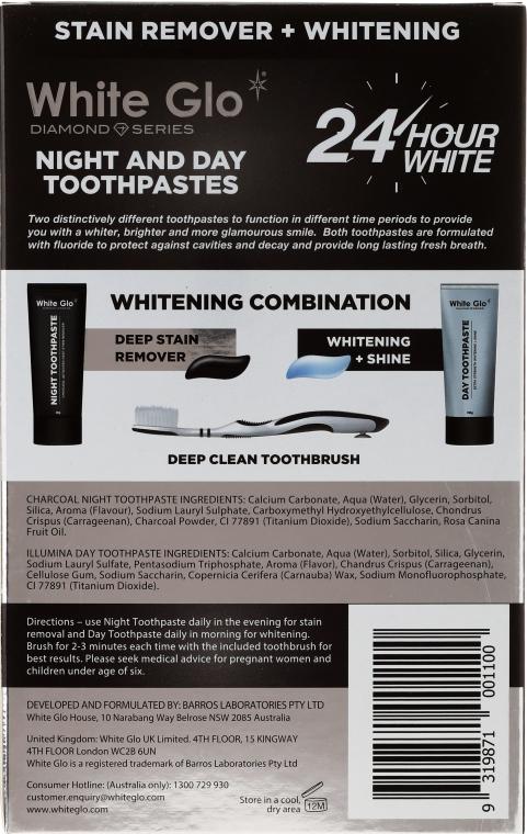 Mundpflegeset - White Glo Diamond Day & Night (Zahnpasta 100ml + Zahnpasta 100ml + Zahnbürste) — Bild N2